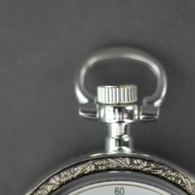 Load image into Gallery viewer, Skeleton Silver plated pocket watch with Roman numbers and snake leather