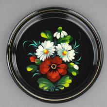 Load image into Gallery viewer, Vintage Russian metal tray plate hand paint enamel flowers USSR