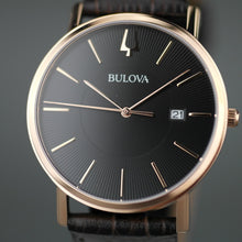 Load image into Gallery viewer, Bulova Gold plated Quartz Watch with Black Dial with date and leather strap