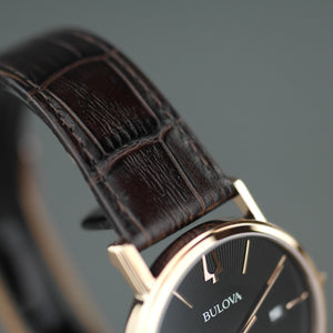 Bulova Gold plated Quartz Watch with Black Dial with date and leather strap