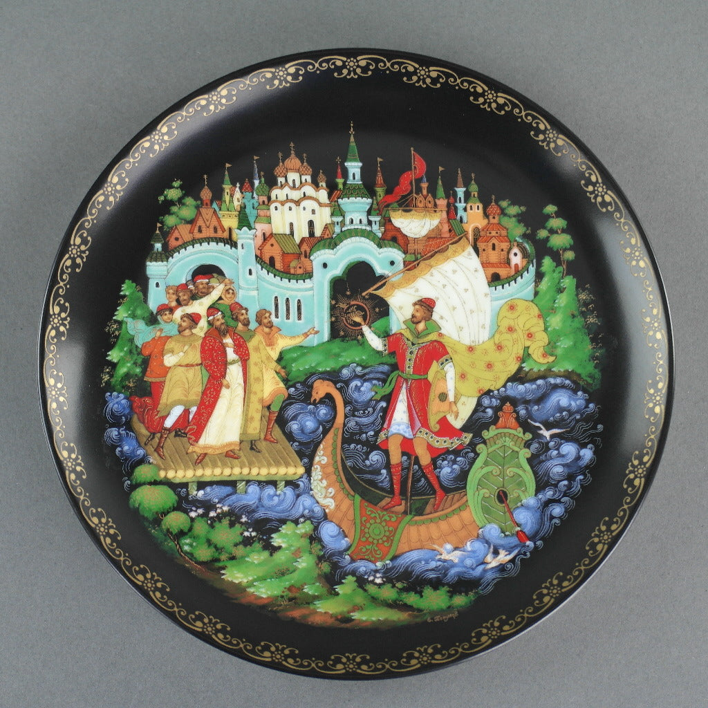 Sadko, Russian tales porcelain plate from Palekh Marsters of Russia, Wall Decor