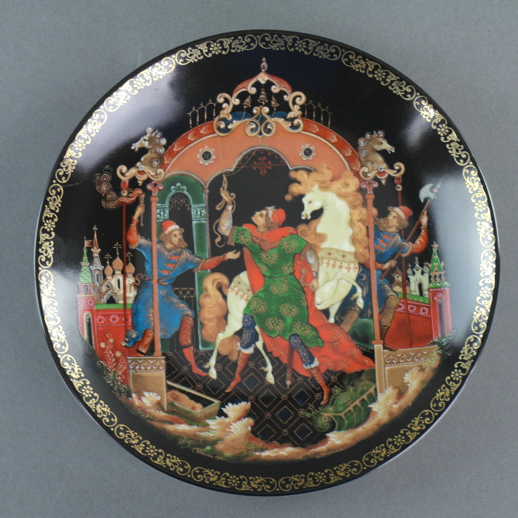 The Golden Bridle, Russian tales porcelain plate from Palekh Marsters of Russia, Wall Decor