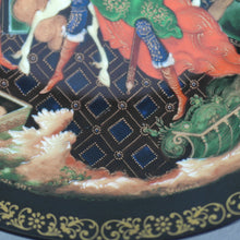 Load image into Gallery viewer, The Golden Bridle, Russian tales porcelain plate from Palekh Marsters of Russia, Wall Decor
