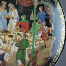 Load image into Gallery viewer, The Wedding Feast, Russian tales porcelain plate from Palekh Marsters of Russia, Wall Decor