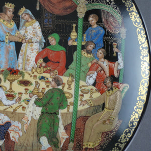 The Wedding Feast, Russian tales porcelain plate from Palekh Marsters of Russia, Wall Decor