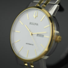 Load image into Gallery viewer, Bulova Men's White Dial Bilingual date Automatic Watch with Stainless Steel Bracelet gold plated elements