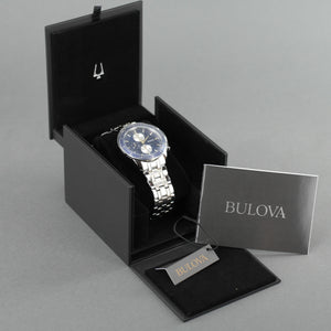 Bulova Men's Sport wrist watch with Stainless Steel Bracelet gold plated elements and blue dial