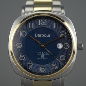 Barbour Beacon Drive wrist watch white blue with date and stainless steel bracelet