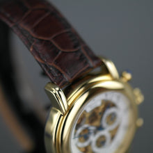 Load image into Gallery viewer, Constantin Weisz Limited Edition Automatic Gold plated skeleton watch brown strap