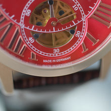 Load image into Gallery viewer, Constantin Weisz Gold plated Gent's Automatic wrist watch red dial and brown strap
