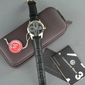 Constantin Weisz Gold plated Automatic 30 jewels wrist watch with Black strap