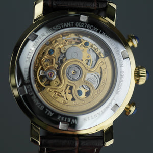 Constantin Weisz Limited Edition Automatic Gold plated skeleton watch brown strap