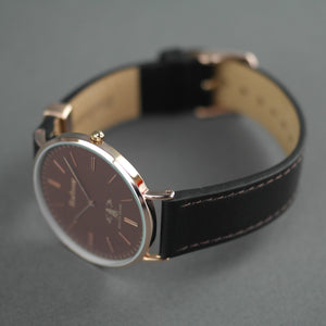 Barbour Hartley gold plated wrist watch with brown dial and leather strap