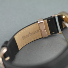Load image into Gallery viewer, Barbour Hartley gold plated wrist watch with brown dial and leather strap