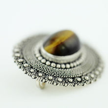 Load image into Gallery viewer, Vintage solid silver pin brooch with Tiger Eye gemstone cabochon Jerusalem 950