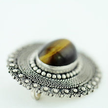 Vintage solid silver pin brooch with Tiger Eye gemstone cabochon Jerusalem 950