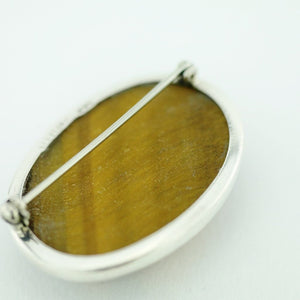 Antique solid silver pin brooch with Tiger Eye gemstone cabochon STERLING WWL
