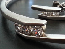 Load image into Gallery viewer, Modern Sterling silver set bangle and earrings with Cubic Zirconia stones
