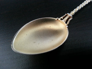 Antique enamel gold plated sterling silver spoon Brussels Belgium 800