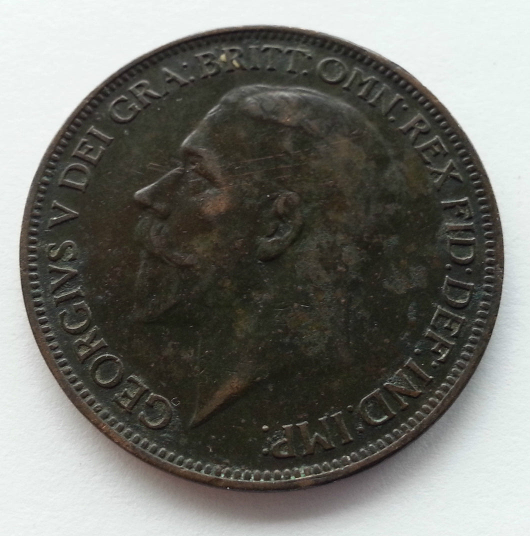 Vintage 1927 coin one penny George V of British Empire London 20thC