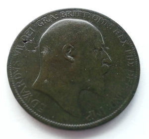 Antique 1902 bronze coin one penny Edward VII of British Empire great patina