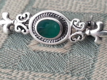 Load image into Gallery viewer, Antique solid silver brooch green Jade Royal flowers Art Nouveau Sterling