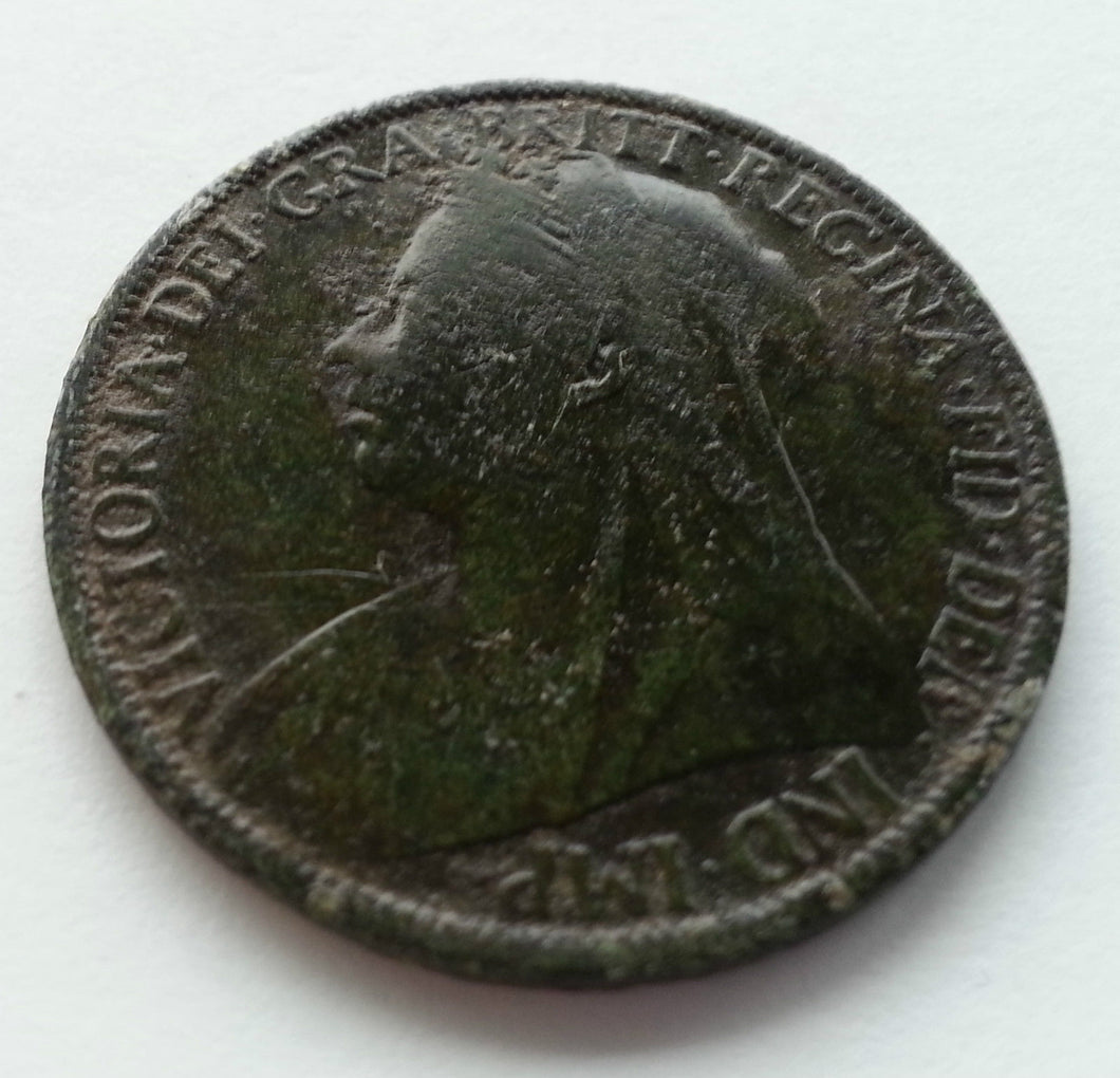 Antique 1891 one penny coin Victorian 19thC British Empire with green patina