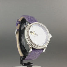 Load and play video in Gallery viewer, Constantin Weisz Purple Love Automatic nacre dial wrist watch with encrusted bezel