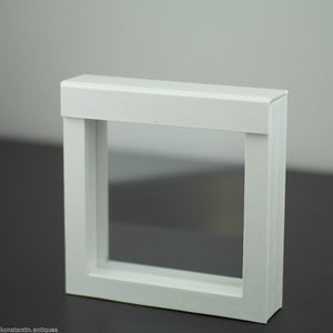 Display frame white faux leather box with clear membrane 100x100x25