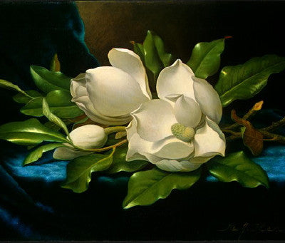 Martin Johnson Heade: Giant Magnolias on a Blue Velvet Cloth - Mouse Pad Universe