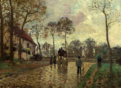 Pissarro: The Stage Coach at Louveciennes - Mouse Pad Universe