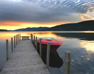 Red Boat on Lake George - Mouse Pad Universe