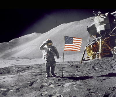 Saluting Flag on Moon - Mouse Pad Universe