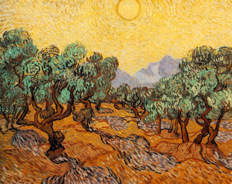 Van Gogh: Olive Trees with Yellow Sky and Sun - Mouse Pad Universe