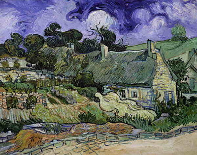 Van Gogh: Thatched Cottages at Cordeville - Mouse Pad Universe