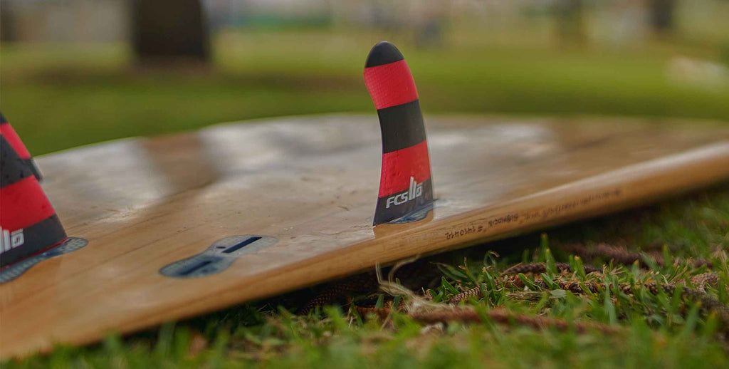 quad thruster convertible wooden surf board
