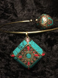 Aztec Turquoise and Red Medallion Necklace