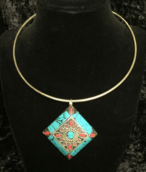 Jewelry - Aztec Turquoise And Red Medallion Necklace