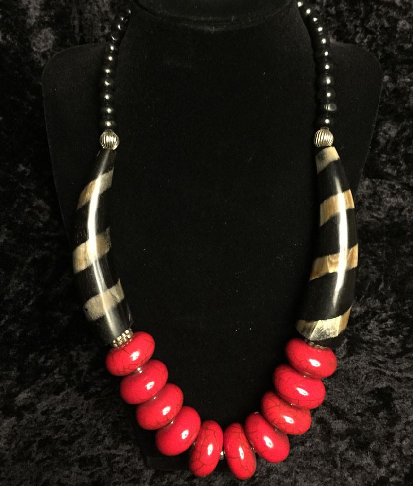 Jewelry - Safari Red Crackle Necklace