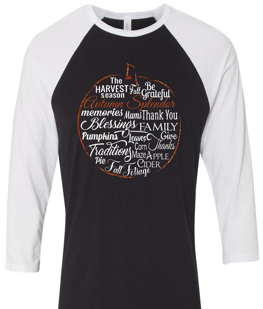 Shirt - Autumn Splendor Raglan Pumpkin Shirt