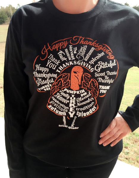Shirt - Happy Thanksgiving Long Sleeve Turkey Shirt
