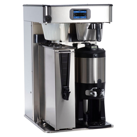 Bunn 54100.0100 ITCB Infusion High Volume Platinum Edition Black / Silver Twin Automatic Combination Coffee / Tea Brewer