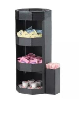 Service Ideas OCH7715C 3-Tier Black Octagonal Condiment Caddy