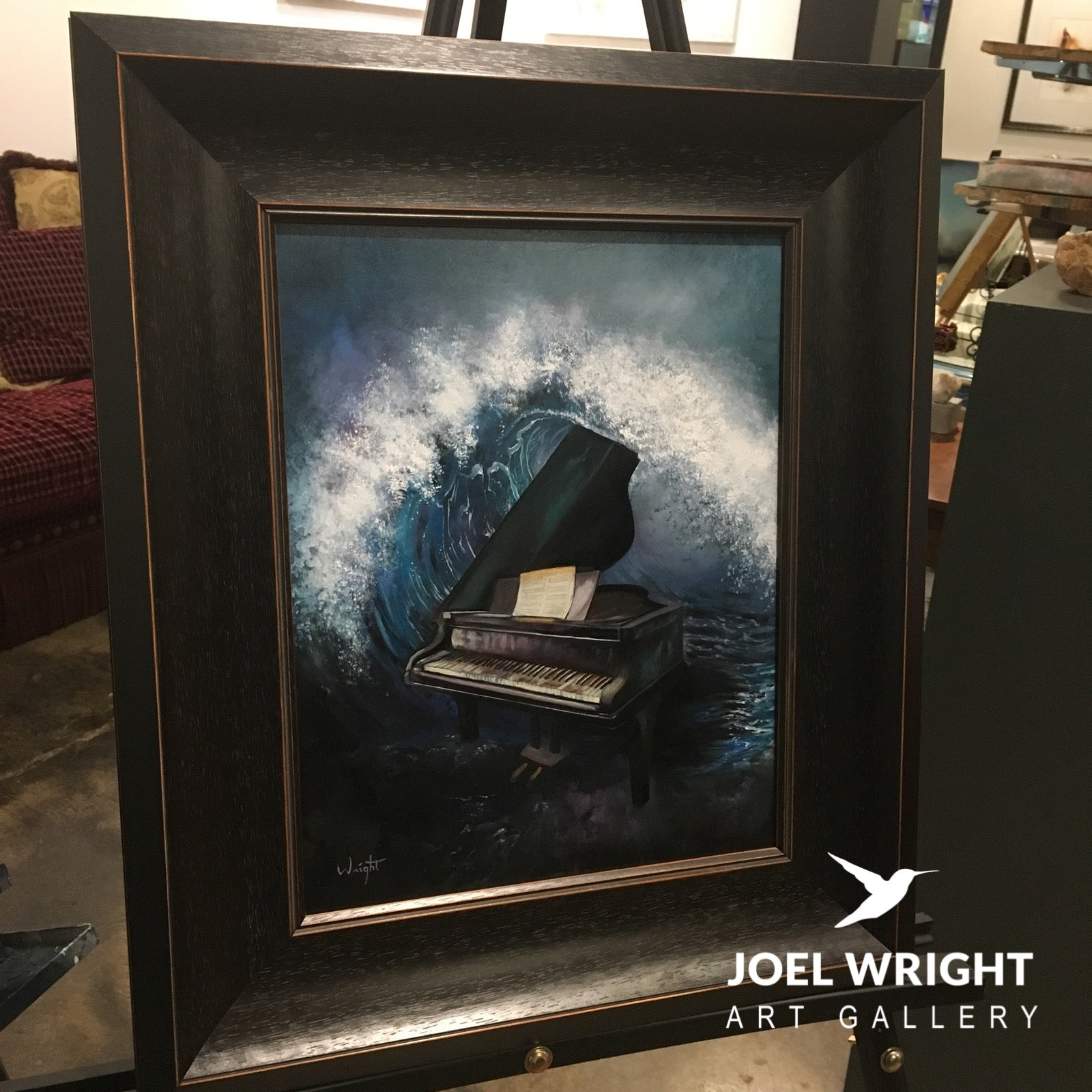 Original Piano and Wave Oil Painting - Surrealism - Wave of Harmony