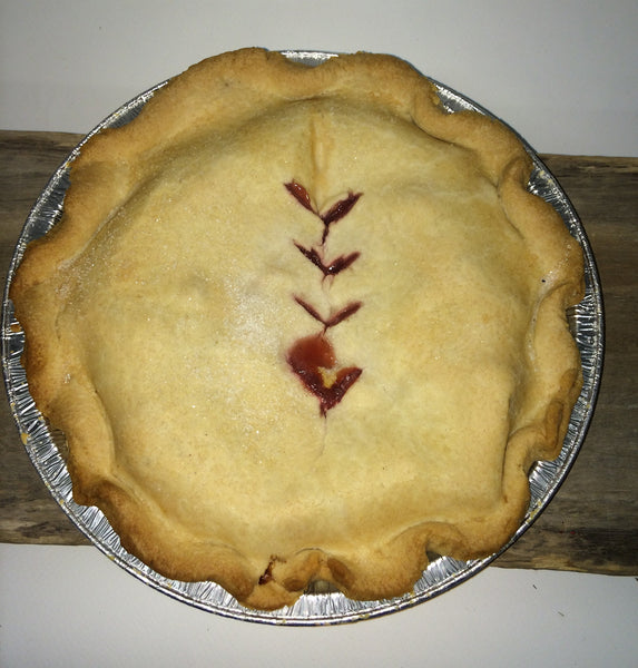 "Homemade Strawberry Rhubarb Pie - Large 9"" Ready-made (serves 4-6)"
