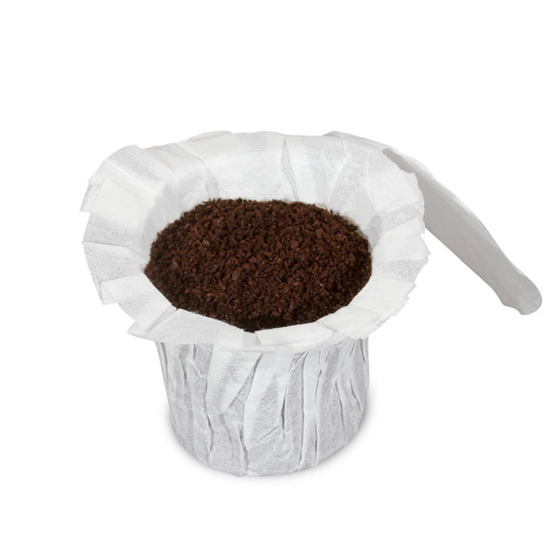 Perfect Pod EZ-Carafe Disposable Paper Coffee Filters - Single Image with Coffee Ground with Flap