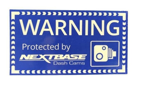 """Protected by Nextbase Dashcam"" Window Sticker (90mm x 50mm)"