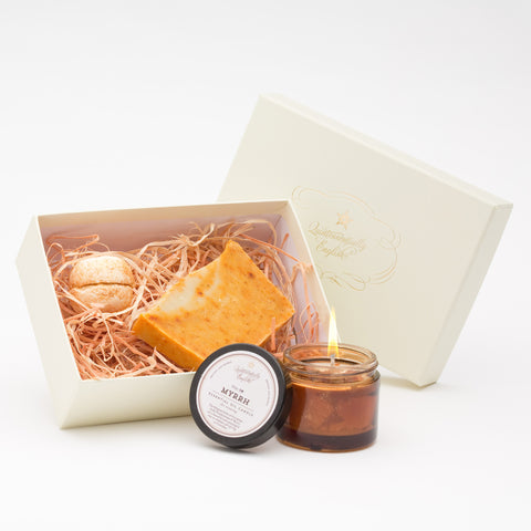 Gold Frankincense & Myrrh Soap, Candle and Bath Melt Gift Box