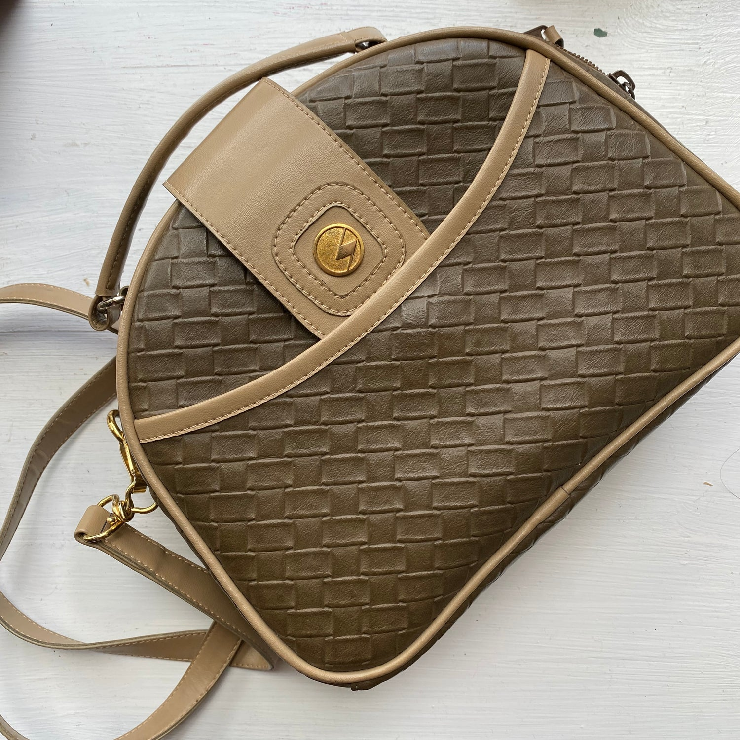 Tan and beige crossbody purse