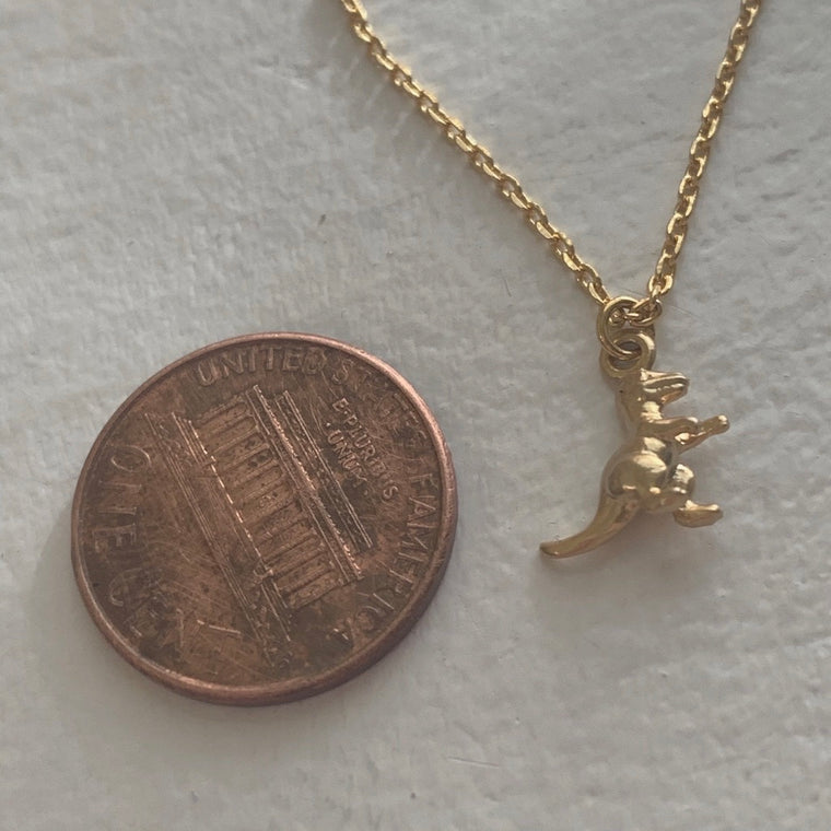 """Scotty"" tiny T-Rex charm necklace"